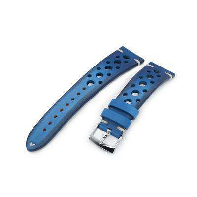 20mm or 22mm MiLTAT Italian Handmade Racer Vintage Blue Watch Strap, White Stitching