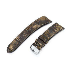20mm or 22mm MiLTAT Italian Handmade Alligator Belly Honey Brown Watch Strap