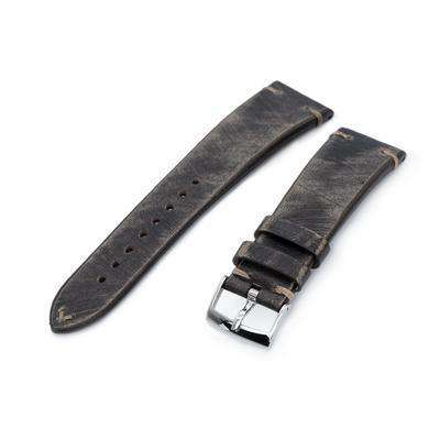 22mm MiLTAT Italian Handmade Brushed Blackish Brown Watch Strap, Khaki Stitching