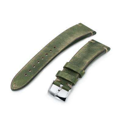 22mm MiLTAT Italian Handmade Brushed Green Watch Strap, Khaki Stitching