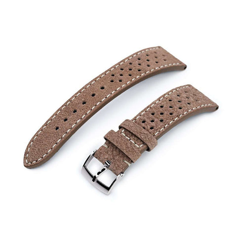 20mm or 22mm MiLTAT Genuine Calf Light Sandy Brown Nubuck Watch Strap, Beige Stitching
