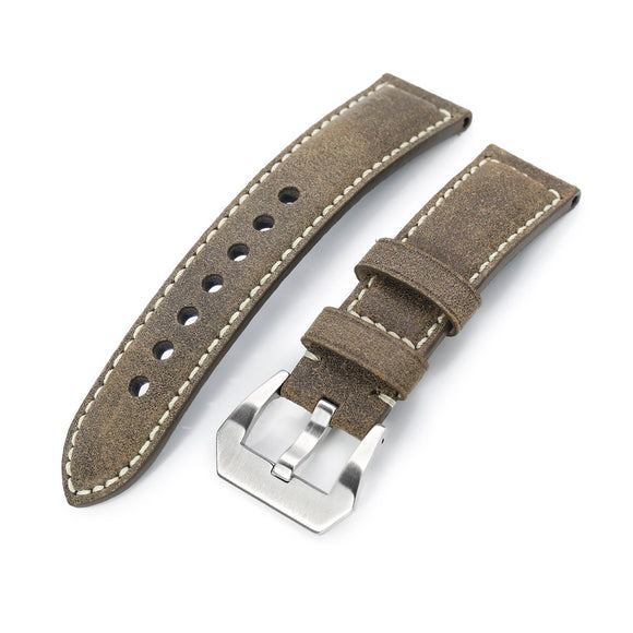 Strapcode Calf Leather Watch Strap MiLTAT 21mm, 22mmmm Genuine Olive Brown Distressed Leather Watch Strap Extra Soft, Beige Stitching