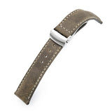 Strapcode Calf Leather Watch Strap MiLTAT 20mm, 22mm Brown Distressed Leather Roller Deployant Watch Band, Beige Stitching