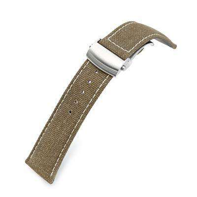 20mm or 22mm Khaki Canvas Watch Band Brushed Roller Deployant Buckle, Beige Stitching