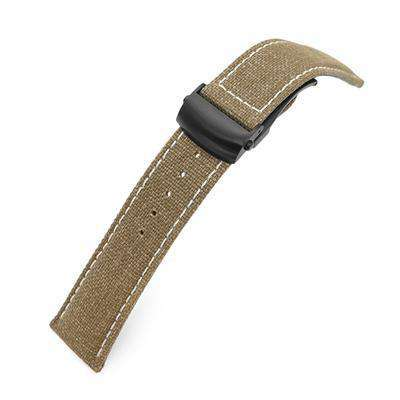 20mm or 22mm Khaki Canvas Watch Band PVD Black Roller Deployant Buckle, Beige Stitching