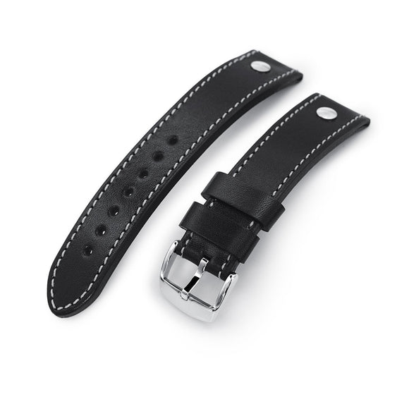 Strapcode Calf Leather Watch Strap German made 22mm Sturdy Semi-gloss Black Saddle Leather with Rivet Watch Band, Polished
