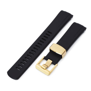 Strapcode Rubber Watch Strap 22mm Crafter Blue - Black Rubber Curved Lug Watch Band for Seiko Gold Turtle SRPC44, IP Gold Buckle