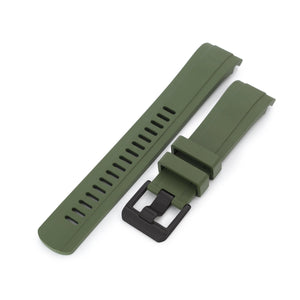Strapcode Rubber Watch Strap 22mm Crafter Blue - CB10 Military Green Rubber Curved Lug Watch Band for Seiko SKX007
