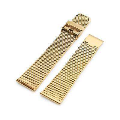 20mm, 22mm Tapered Milanese Wire Mesh Band, Polished IP Gold