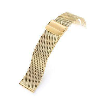 18mm, 20mm or 22mm Classic Vintage Knitted Superfine Wire Mesh Band, Polished IP Gold