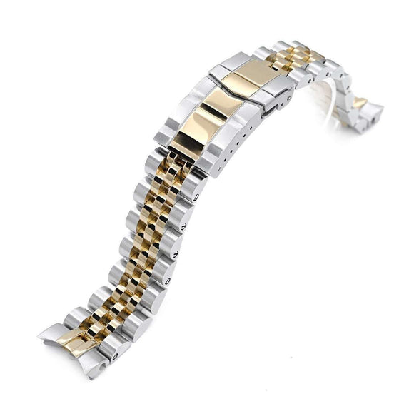 20mm ANGUS Jubilee 316L Stainless Steel Watch Bracelet for Seiko Alpinist SARB017, Two Tone IP Gold, Submariner Clasp