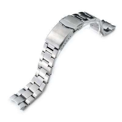 Strapcode Watch Bracelet 20mm Super 3D Oyster watch band for Seiko Alpinist SARB017, Brushed, V-Clasp Button Double Lock