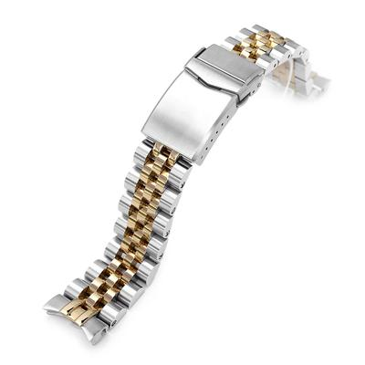 Strapcode Watch Bracelet 20mm ANGUS Jubilee 316L Stainless Steel Watch Bracelet for Seiko Alpinist SARB017 (or Hamilton K.), Brushed with IP Gold Center V-Clasp