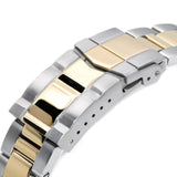 Strapcode Watch Bracelet 22mm Super 3D Oyster 316L Stainless Steel Watch Bracelet for Orient Triton, Two Tone Brushed with IP Gold Center Submariner Clasp