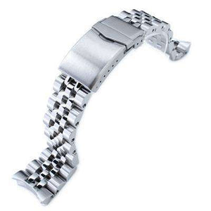 22mm ANGUS Jubilee 316L Stainless Steel Watch Bracelet for Seiko SKX007, Brushed/Polished, V-Clasp