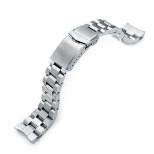 Strapcode Watch Bracelet 22mm Hexad Oyster 316L Stainless Steel Watch Band for Seiko Samurai SRPB51, V-Clasp Button Double Lock