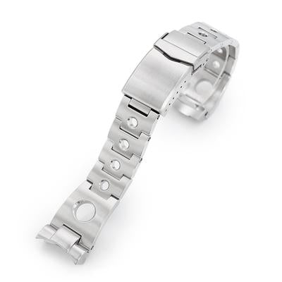 22mm Rollball 316L Stainless Steel Watch Bracelet for Seiko SKX007, Brushed V-Clasp