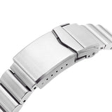 Strapcode Watch Bracelet 22mm Bandoleer 316L Stainless Steel Watch Bracelet for Seiko 5, Brushed V-Clasp