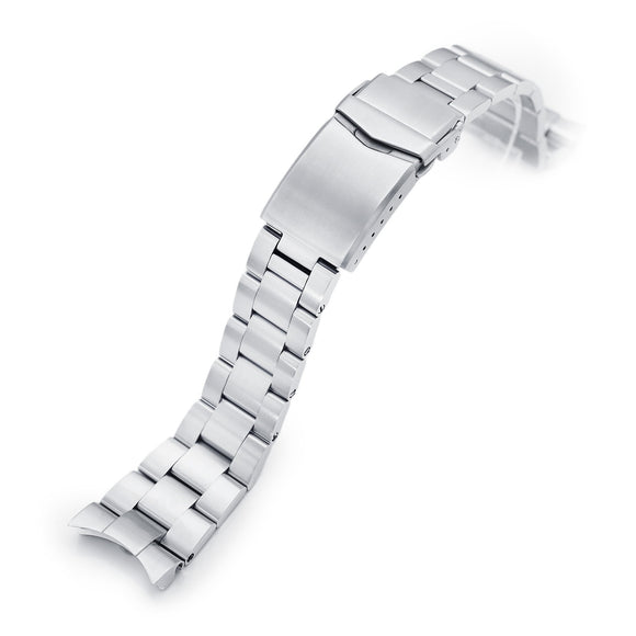 Strapcode Watch Bracelet 22mm Super-O Boyer 316L Stainless Steel Watch Bracelet for Orient Kamasu, Brushed V-Clasp