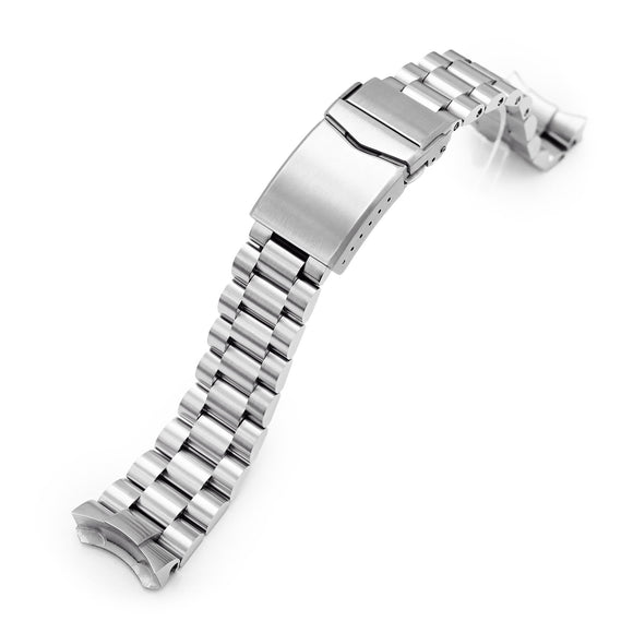 Strapcode Watch Bracelet 22mm Endmill 316L Stainless Steel Watch Band for Seiko 5, Brushed V-Clasp