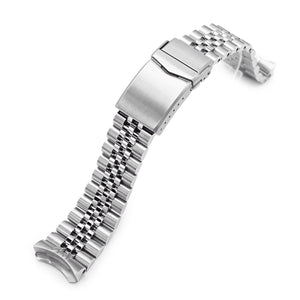 Strapcode Watch Bracelet 22mm Super-J Louis 316L Stainless Steel Watch Band for Seiko 5, Brushed V-Clasp