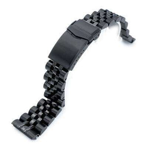 22mm ANGUS Jubilee 316L Stainless Steel Watch Bracelet for Seiko Turtle SRPC49K1, PVD Black, V-Clasp