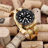 Strapcode Watch Bracelet 22mm Retro Razor 316L Stainless Steel Watch Band for Seiko new Turtles SRPC44, Full IP Gold V-Clasp