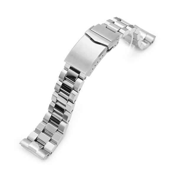 Strapcode Watch Bracelet 22mm Hexad 316L Stainless Steel Watch Band for Seiko new Turtles SRP777, Brushed and Polished V-Clasp