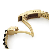 Strapcode Watch Bracelet 22mm Super-J Louis JUB 316L Stainless Steel Watch Band Straight End, Full IP Gold with Polished Center V-Clasp