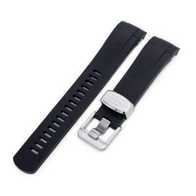 Strapcode Rubber Watch Strap 22mm Crafter Blue - Black Rubber Curved Lug Watch Strap for Tudor Black Bay M79230