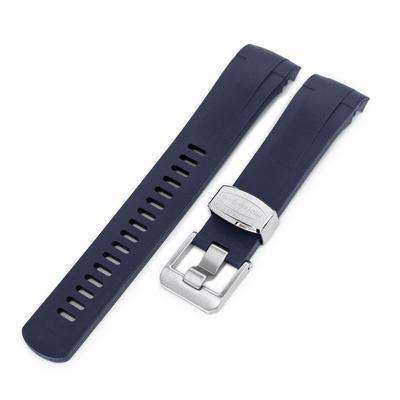 Strapcode Rubber Watch Strap 22mm Crafter Blue - Dark Blue Rubber Curved Lug Watch Strap for Tudor Black Bay M79230