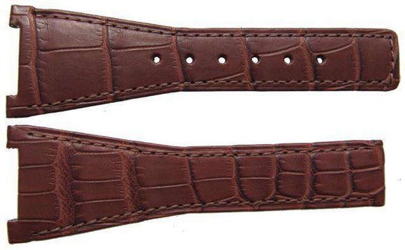 Authentic Omega Watch Strap 28mm Alligator - Brown Deployment