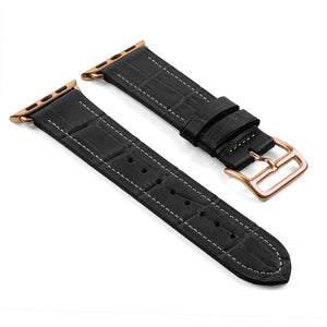 DASSARI Croc Embossed Leather Strap w/ Hermes Rose Gold Buckle Style for Apple Watch