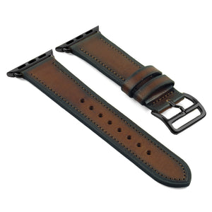DASSARI Vintage Leather Strap For Apple w/ Black Hermes Style Buckle