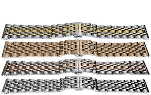 Watch Bracelet 7 Row Full Mirror 18mm, 20mm, 22mm and 24mm Gold, Two Tone, Silver and Rose
