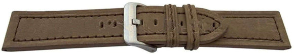 Calf Suede Watch Strap Brown Stitched Size 20mm, 22mm and 24mm Stainless Buckle