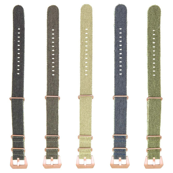 DASSARI Shred Frayed Canvas NATO Strap with Rose Gold Hardware