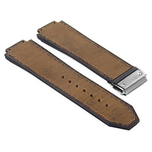 Vintage Leather Suede Strap for Hublot Big Bang with Brushed Steel Clasp