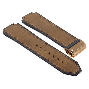 Vintage Leather Suede Strap for Hublot Big Bang with Yellow Gold Clasp