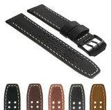 DASSARI 23mm Vintage Leather Watch Strap for Luminox Evo with Matte Black Buckle