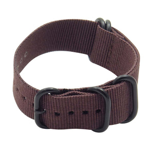 Nylon 5 Ring NATO Watch Strap with Matte Black Rings