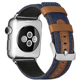 Fabric and Leather Watch Strap for Apple iWatch 38mm 42mm  40mm 44mm Series 2 3 4 5