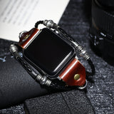Vintage PU Leather Watch Band for Apple iWatch Series 4/3  Bead Braided Bracelet Strap
