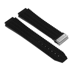 Rubber Watch Strap for Hublot Big Bang with Brushed Steel Clasp