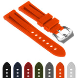 Silicone Watch Strap with Brushed Stainless Steel Pre-V Buckle