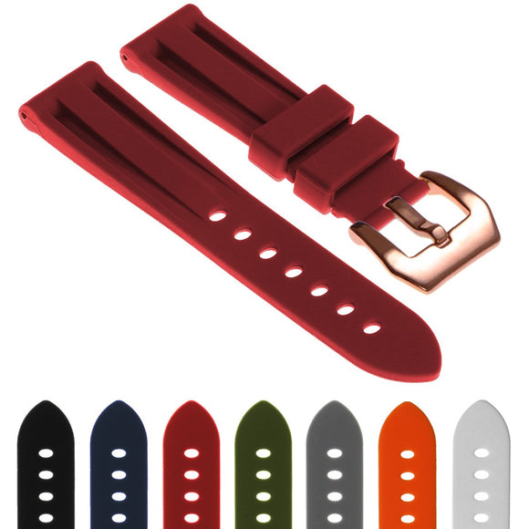 Silicone Watch Strap with Rose Gold Pre-V Buckle