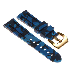 Camo Silicone Watch Strap with Yellow Gold Pre-V Buckle