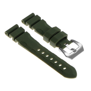 Rubber Watch Strap with Brushed Stainless Steel Pre-V Buckle