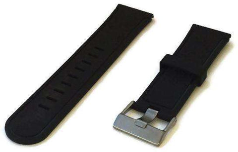 Black Rubber Watch Strap Smooth with Wide Tongue Stainless Steel Buckle 24mm