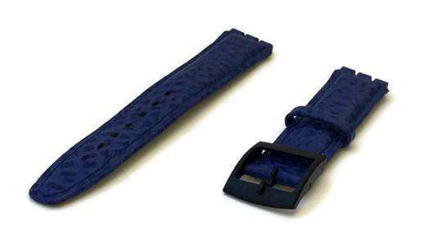 Blue Swatch Style Leather Watch Strap Size 17mm